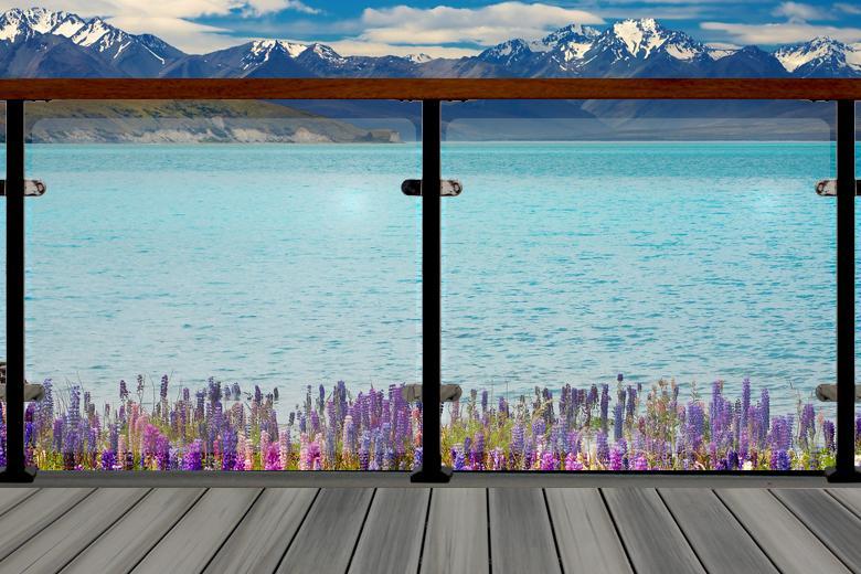 Glass Railing with Purple Flowers