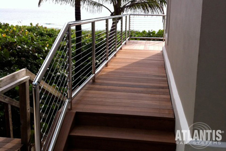 Waterfront cable railing deck.