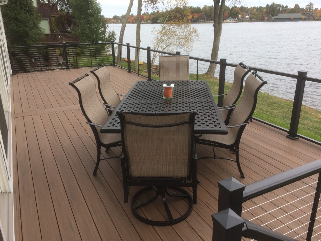 Aluminum Cable Railing System on Deck Overlooking Lake in New Hampshire