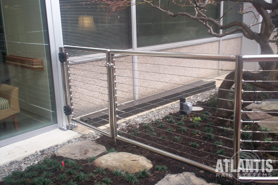 Garden with Cable Railing Gate