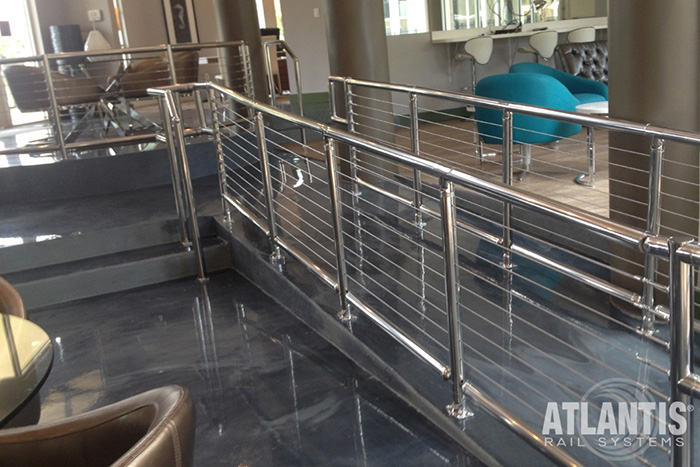 ADA compliant cable railing at an office.