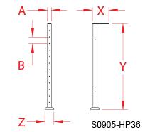 "Spectrum Gate Hinge Post 36"" Line Drawing"
