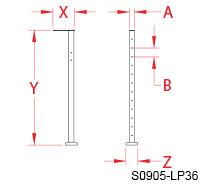 "Spectrum Gate Latch Post 36"" Line Drawing"