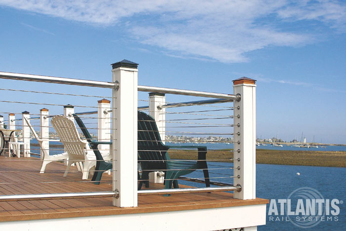 Single corner post style - Cable-Railing-on-Deck-with-Adirondack-Chairs.