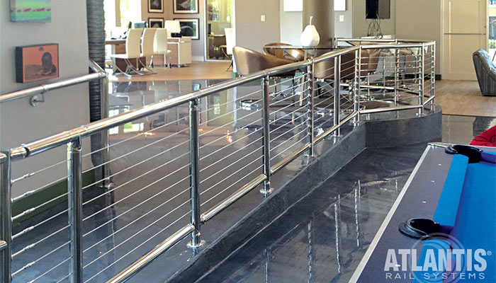 Cable railings in commercial buildings - office space.