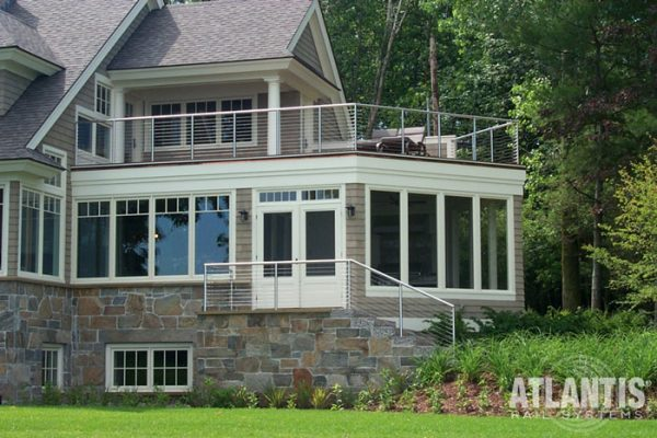 Cable Railing sytem on home with stone stairway.